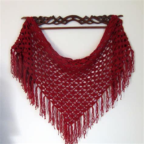 fringed shawl winter wrap triangle scarf handmade