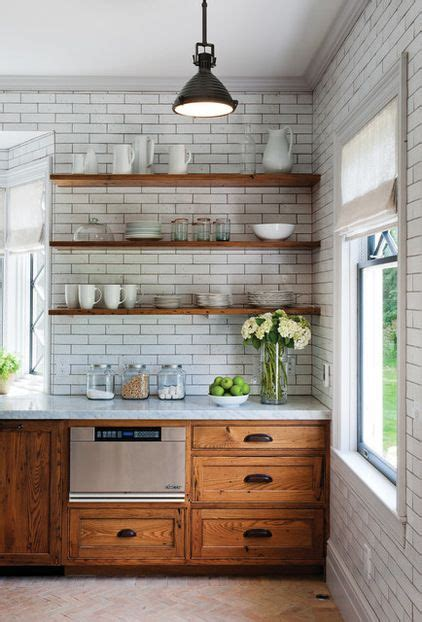 Open Cabinets by Open Shelves Subway Tile