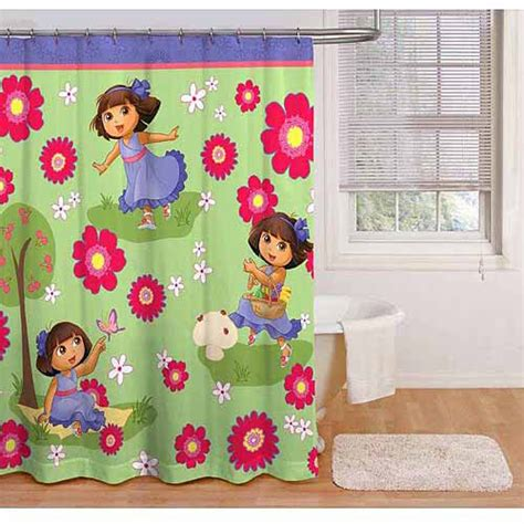 dora the explorer curtains nickelodeon dora the explorer picnic shower curtain