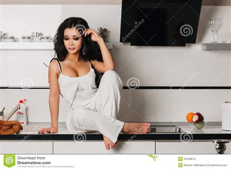 Stunning Hair From Your Kitchen beautiful with hair in the kitchen stock photo