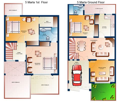 house plans designs 5 marla house plan civil engineers pk