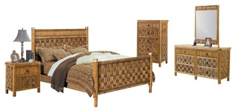 tropical bedroom sets seawinds trading tahiti 5 rattan and wicker tropical