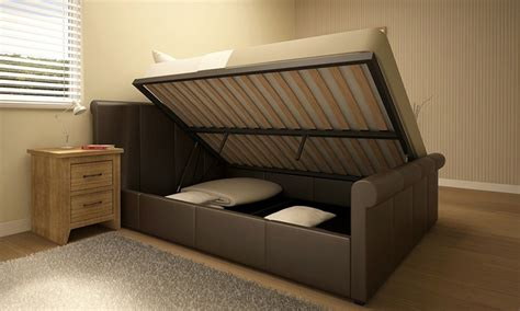 Ottoman Bed And Mattress Deal by Side Lift Ottoman Storage Bed Groupon Goods