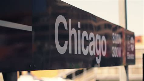 chicago l sign rack focus stock footage