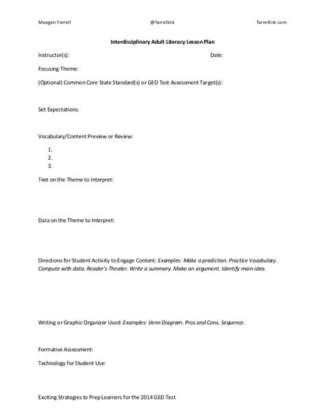 interdisciplinary unit plan template interdisciplinary literacy lesson plan