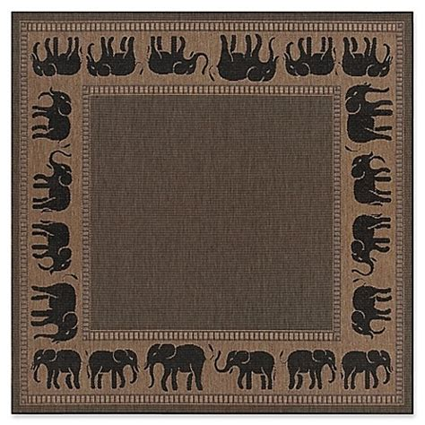 Elephant Outdoor Rug Couristan Recife Elephant Indoor Outdoor Rug In Cocoa Black Bed Bath Beyond
