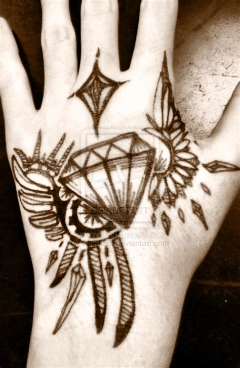 diamond tattoo and custom art winged diamond tattoo sharpie by inkkitten on deviantart