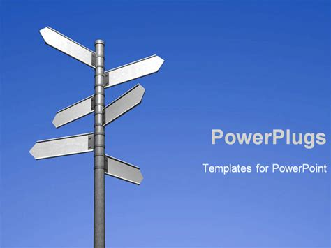 blank signpost with six arrows powerpoint template