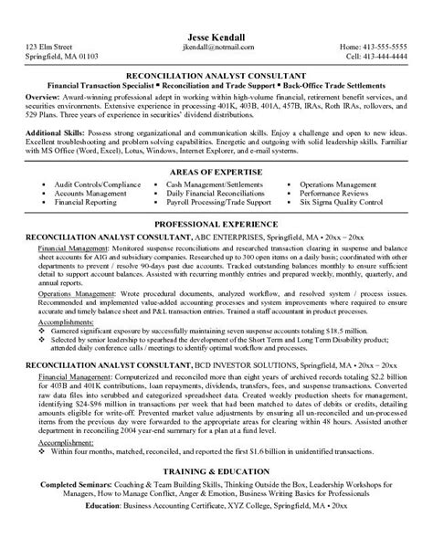 Resume Format For Bank Reconciliation Exle Reconciliation Analyst Consultant Resume Free Sle