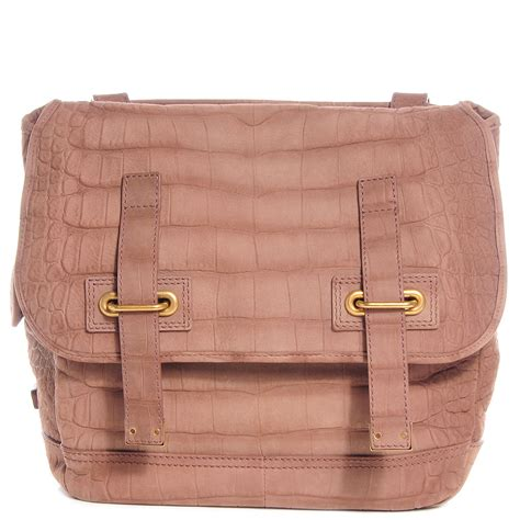 The Yves Laurent Croc Embossed Overseas Handbag by Yves Laurent Croc Embossed Nubuck Besace Shoulder