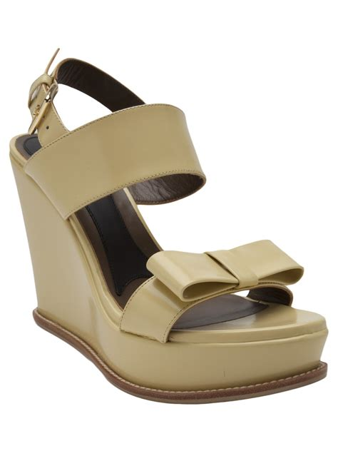 green wedge sandals marni bow wedge sandal in green lyst