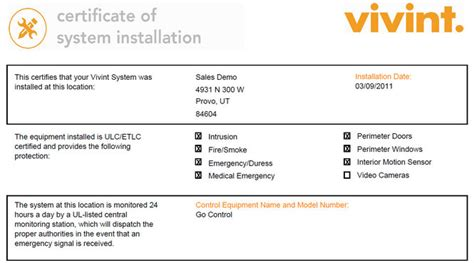 vivint insurance certificate of installation