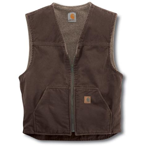 carhartt rugged vest carhartt sandstone rugged sherpa lined vest 156260 vests at sportsman s guide