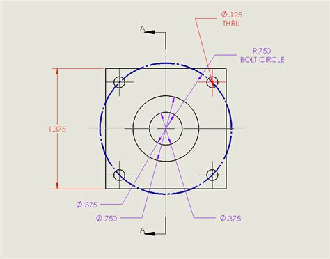 hole pattern drawing how to change a solidworks drawing dimension colour
