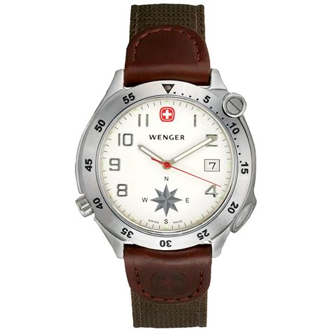 Men S Wenger 174 White Dial Swing Out Compass Watch