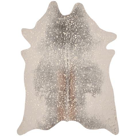 Faux Cowhide Rugs - gray gold metallic faux cowhide rug 5 x 7