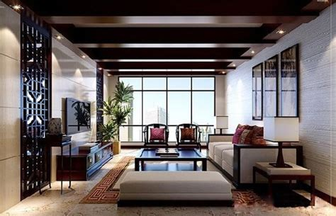 chinese modern minimalist living room interior design 3d interior decoration chinese style living room in 3d