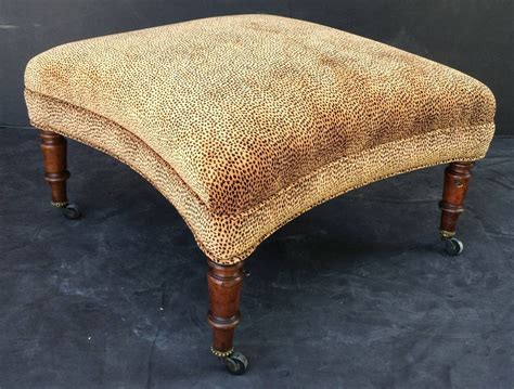 ottomans with legs english upholstered ottoman on mahogany legs at 1stdibs