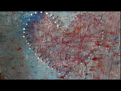 diy herz acryl bild faden bild string art nagelherz
