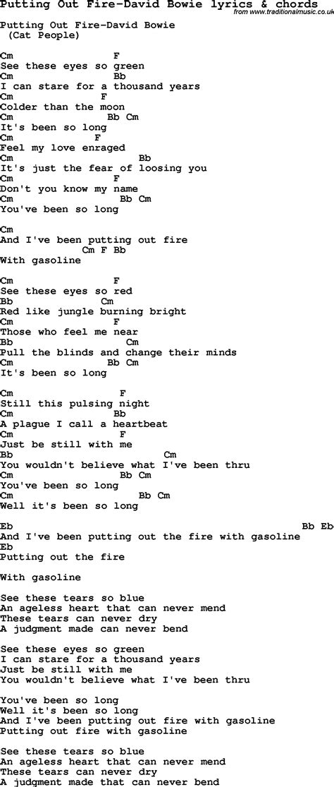 lyrics bowie song lyrics for putting out david bowie with chords