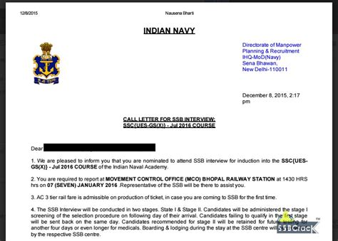 call letter template indian navy ues ssb dates 2016 call letter