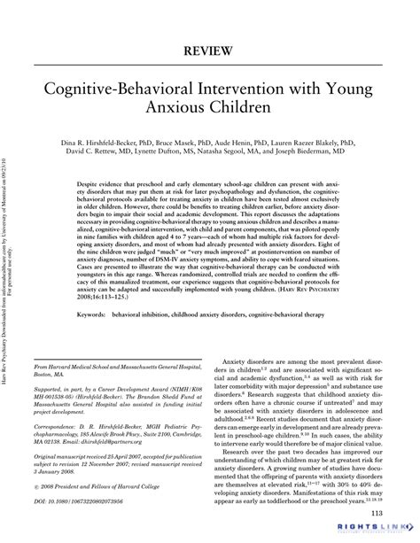 (PDF) Cognitive-Behavioral Intervention with Young Anxious