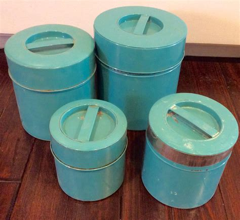 vintage turquoise metal kitchen canister set with by whitepicket vintage turquoise tin nesting canisters set of 4 blue kitchen