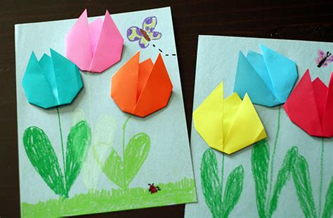 Paper Folding For Kindergarten - create springtime with simple origami tulips make