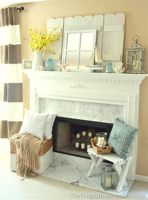 cottage or coastal themed decorated mantel 1 mantel