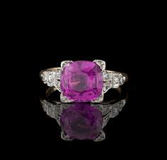 Pink Sapphire 2 64ct 2 96 ct blue sapphire halo 18k white gold ring