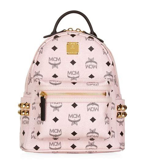 mcm mini stark backpack in pink lyst