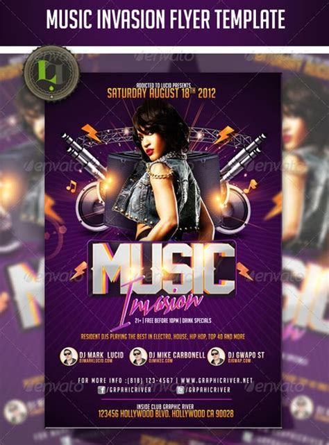 Graphicriver Music Invasion Flyer Template Graphicriver Flyer Template