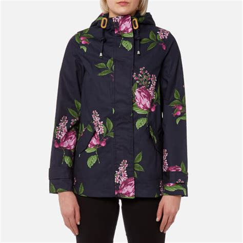 Floral Hooded Jacket joules s coast print waterproof hooded jacket navy