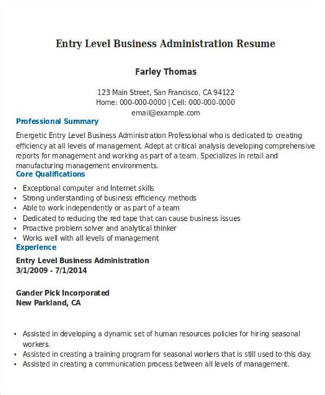 Business Administration Resume by Business Resume Sle Free Premium Templates