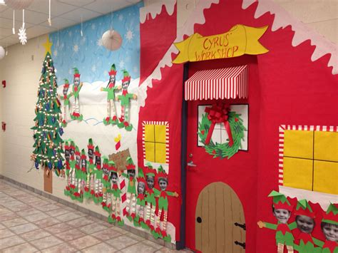christmas classroom door santa s workshop my classroom