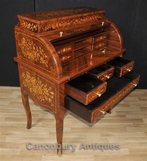 dresser with desk top french louis roll top desk bureau writing inlay
