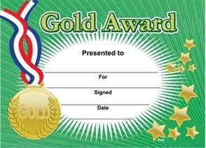 gold award sports certificates
