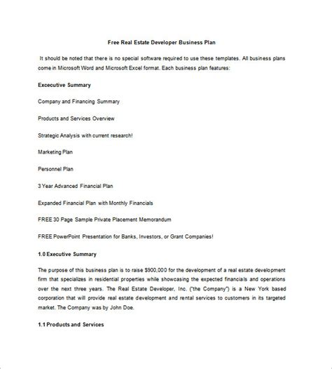 real estate business plan template free real estate business plan template 13 free word excel