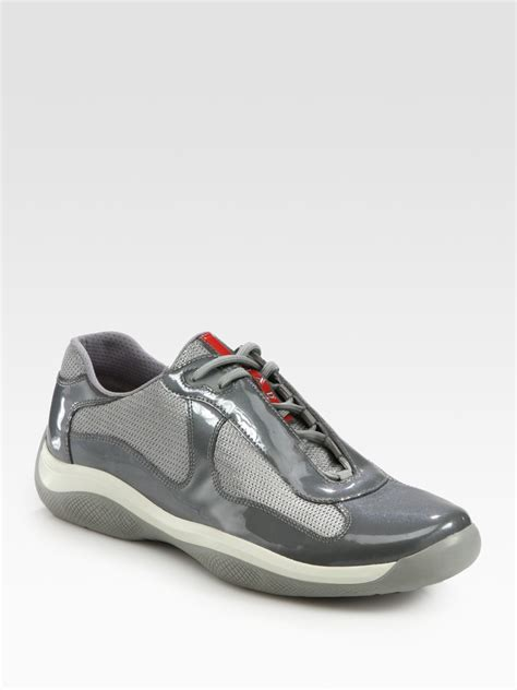 prada shoes lyst prada lace up sport sneakers in gray for