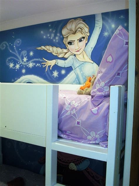 elsa bed elsa and anna kids art murals