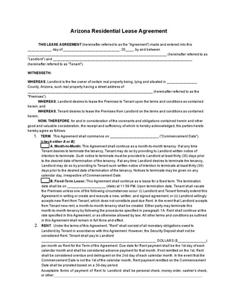 printable lease agreement arizona free arizona residential lease agreement free arizona
