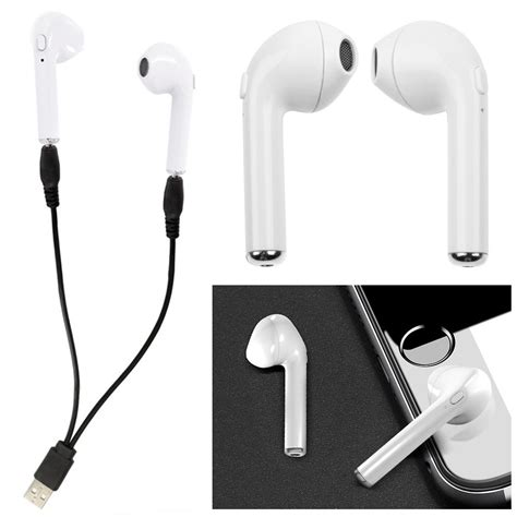 Mini Ear Headset Dual Earphone Bluetooth Call Mic Hook hbq i7 dual mini bluetooth stereo earphone headset earbud wireless with mic ebay