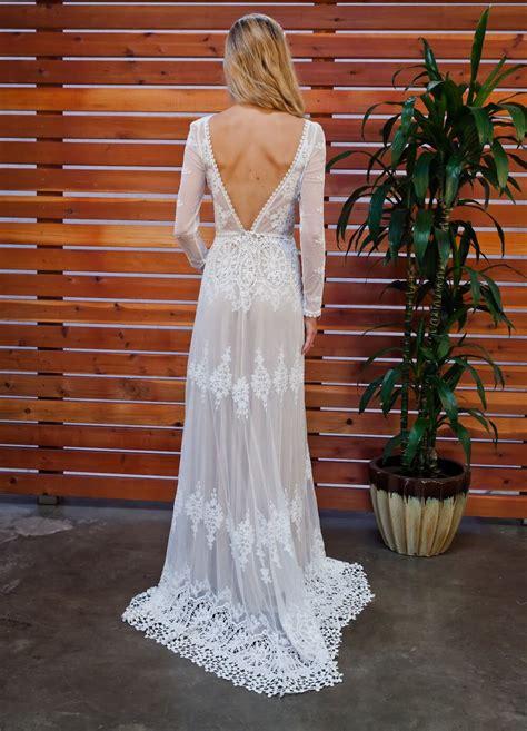 lisa backless boho lace wedding dress dreamers  lovers