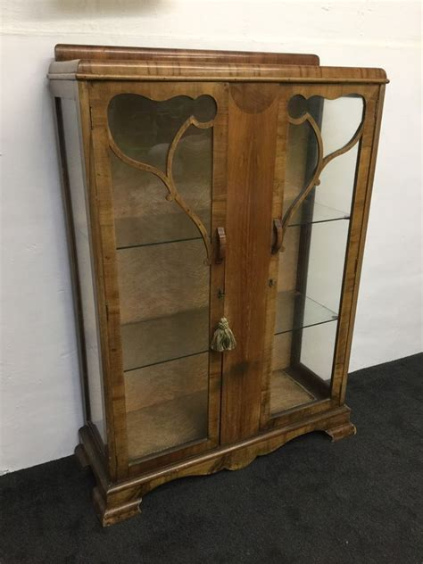 1930 S Deco Nouveau Display China Cabinet With Key
