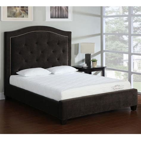 queen tufted bed frame button tufted queen size espresso bed frame ebay