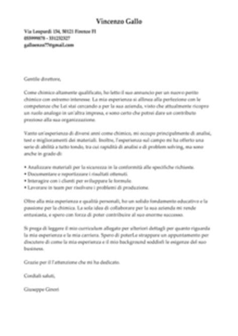 lettere accompagnamento curriculum esempio esempio lettera di presentazione chimico modello lettera