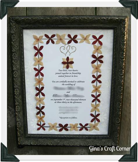 pressed flower framed wedding invitation s craft corner framed wedding invitation with