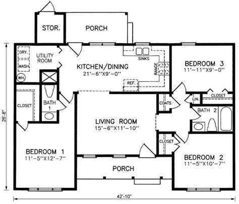 Ranch Style House Plans 1102 Square Foot Home By | ranch style house plans 1102 square foot home by