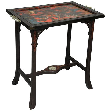 lacquer and jade mounted tray table for sale at