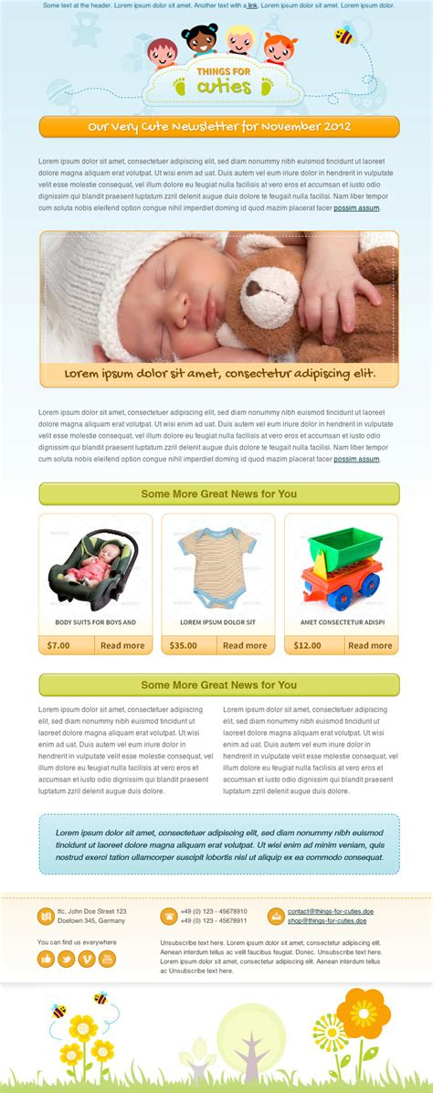 things for cuties baby kids newsletter template by